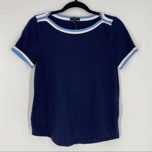 J. Crew Short Sleeve Pop Trim Boatneck Tee T-Shirt